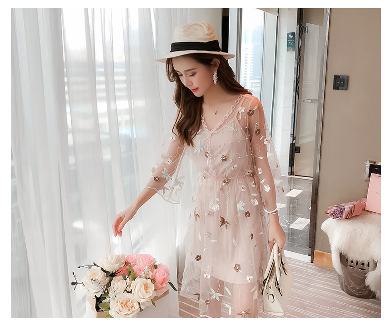 f8cae60425de Women Embroidery Flower Casual Dress 2018 Summer Two Piece Mesh Maxi Dress  white skirt Long Sexy