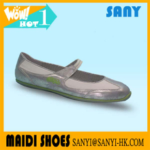 New Products Ladies' Flat Sole White Silver PU Dance Shoe with Fashion Chambry Lining from China
