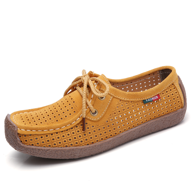 Summer new style leather breathable shoes mother shoes soft bottom bean shoes ladies on line EMAOR
