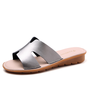 Leather Slippers Women Summer Flat Flip Flops Soft Bottom Slip On Women Flats ladies Slippers