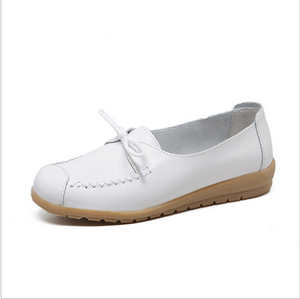 Women's fashion Flat PU Shoes Four seasons Casually collocation casual shoes leather peas shoes for lady