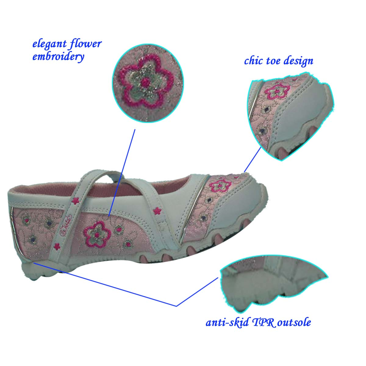 Hot sale Latest Pink Embroided Smart Casual Dance Shoes China