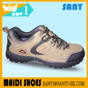 New Designed Men Sand Genuine Leather Hiking Shoe with Durable MD Outsole