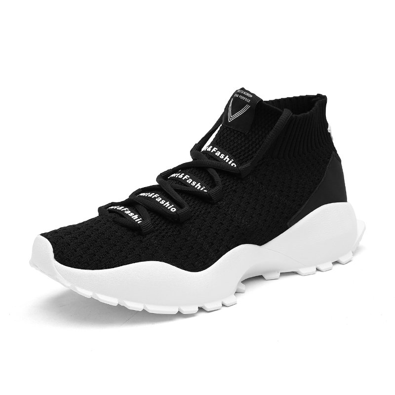 sneakers Outdoor Running shoes men Breathable air mesh Flat high top socks sports shoes trainers Fly Knitted Jogging Light Run Sport Shoes for men