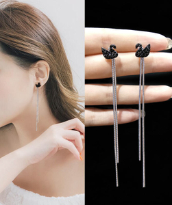 Black Swan fringe long earrings ear line ear studs needle new korea hypoallergenic earrings wholesalers