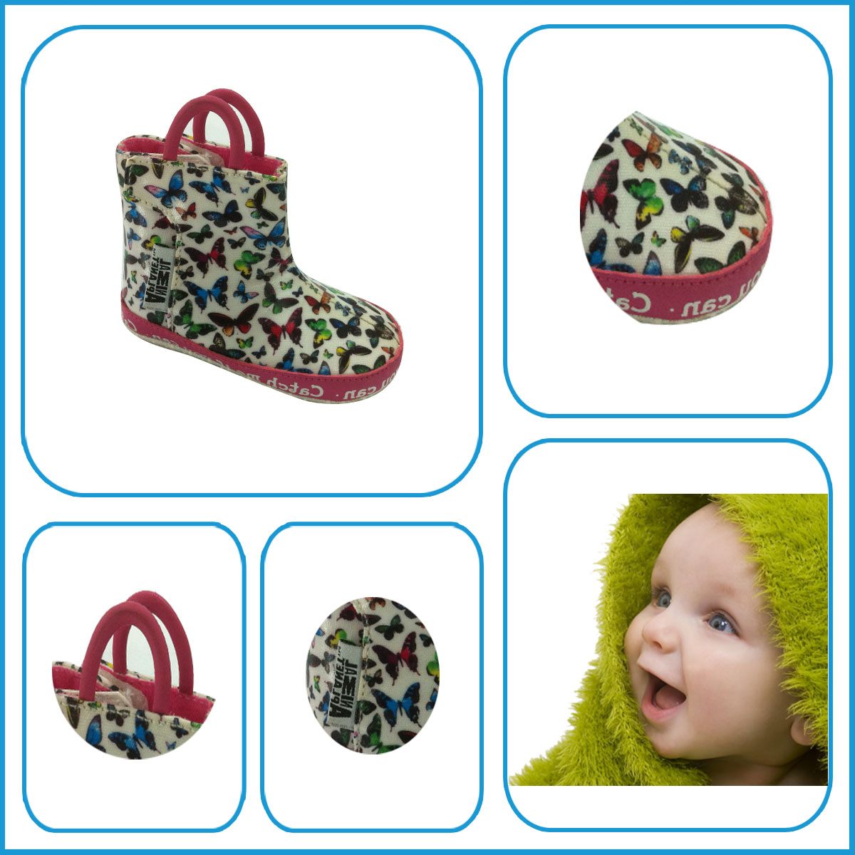 Ladies fashion shoes new Design Colorful Butterfly Baby Boots with cotton fabric of China