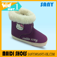 New Style Winter Infant/ Baby Hello Kitty Purple Snow Boots with Warm Fur Lining