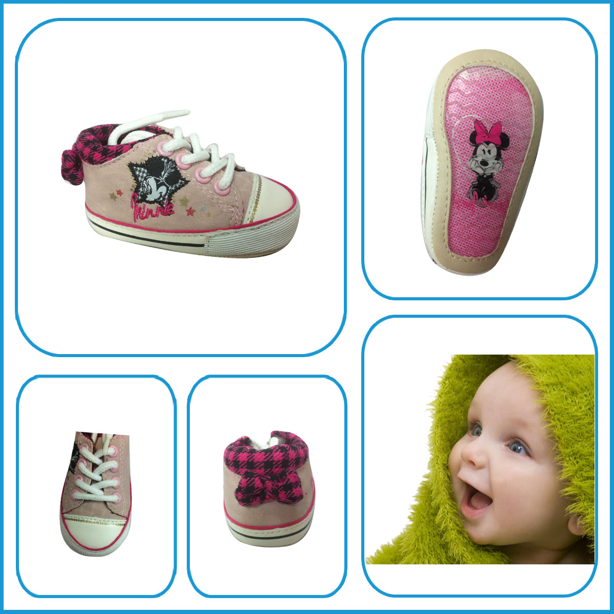 Hot selling Mikey Cartoon Pattern PVC Outsole Pink Lovely Infant Casual Shoes,PU upper