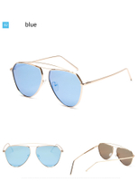 new Fashion Metal Cat Eye Sunglasses Classic Twin-Beams Rose Gold Frame Sun Glasses for Women's Mirror Flat Retro Sunglasses men's