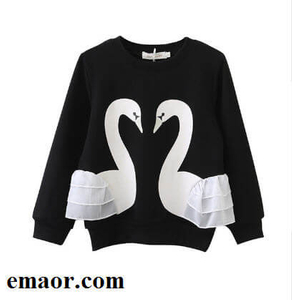 Children Hoodies New Kids Spring Fall 3d Swan Hoodies Clothes Child Baby Girls Cotton Long Sleeve Lace T-shirt Cute Top Children Casual Clothes