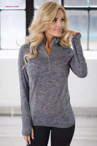 Royal Zip up Running Sport Tops Long Sleeve Gym Yoga Top Wholesale