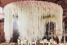 Wedding Backdrop Rattan Table Art Silk Artificial Flowers Bridal Wedding Decoration in Party DIY Fake Hanging Flower for Wedding Living Room White 10 Pcs