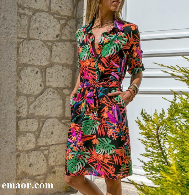 83c76e18bbe63 Long Sleeve Shirt Dress 2019 Summer New Sexy Chiffon Boho Beach ...