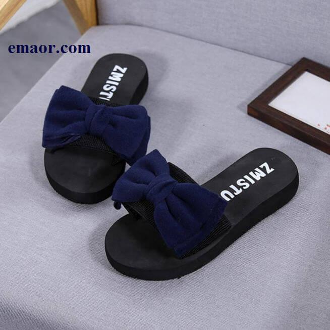 7111934d7c4c6 Women Bow Sandals Slipper Classical 2019 Summer Indoor Outdoor Non-slip  Flip-flops Beach