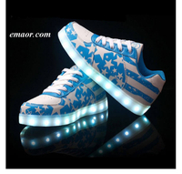 Betsy Ross Flag Tfsland LED Light Up Shoes Glowing USB Charger LED Shoes American Flag Print Walking Shoes Soft Lumineuse Sneakers Flag Flyer Shoes