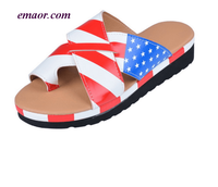 Flag Brand Shoes Fashion Shoes Summer Slippers For Women's Flagg Bros Shoes American Flag Thick Bottomed Toe Sandal And Slippers Clip Flag Shoes Ladies