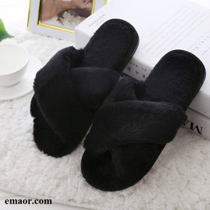 Women Home Slippers with Faux Fur Winter Fashion Classic Warm Shoes Black Pink Woman Non-slip Slippers