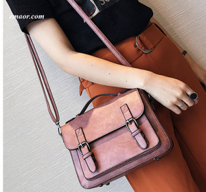 Ladies Bag Retro Crossbody Bags Fashion Travel Bags Vintage PU Leather Preppy Satchel for Girls Book Bags for College Bags
