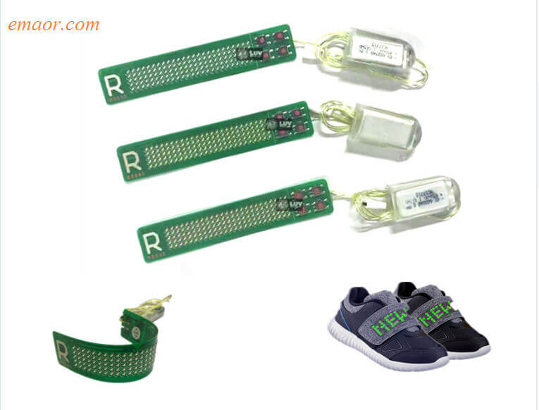 LED Programable Smallest Led Flexible Soft Belt with Scrolling Message Display Belt Lights Up for Kid Shoes