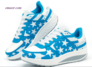 Flag Shoes Pulled Women's American Flag Flock Sneakers Roman Slip On Pantshoes Thick Bottom Breathable Wedge Casual Shoes Dark And Light Blue Star 5.0 Maryland Flag
