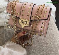 Small Clear Brand Messenger Bag Chains Shoulder Bag Female Rivets Transparent Square PU Handbag Crossbody Bags