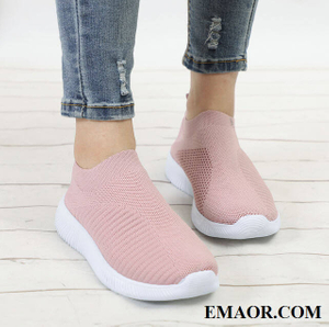 Casual sneakers shoes Women Plus Size Spring Knitting Sock Sneakers Female Vulcanized Shoes Casual Slip On Flat Shoe Mesh Soft Walking Footwear