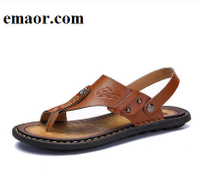 Men'S Sandals Hot Sale Genuine Leather Men Summer Shoes Leisure Slippers Flip-Flops Men Comfortable Soft Footwear