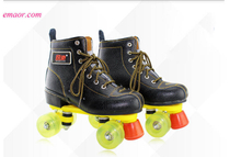 Roller Skate Classic Black Double Row Skating Shoes Pulley Shoes 4 Wheel Shoes Outdoor Indoor Riding