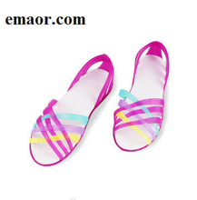 Women Jelly Shoes Rianbow Summer Sandals Female Flat Garden Shoes Casual Ladies Slip On Woman Candy Color Peep Toe Beach Shoes