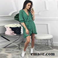 Women Dress Short Ruffles Print Polka Dot Sexy Bodycon Beach Female Half Sleeve Summer Party Mini Chiffon Dresses