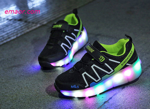 USB Charging Spring Winter Led Children's Light-emitting Wheel Shoes Cheap Heelies Skating Pulley Shoes