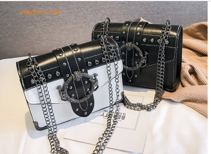 Women's Korean Punk Rivet BagS Ladies PU Crossbody Girl Fashion Shoulder Bags Square Package Bags Sale