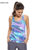 Swimsuit Model Streaks Two Piece Swimsuit Bluish Print Blouson Tankini with Grey Swim Bottom Swimming Clothes Amazon Is Hot
