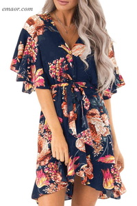 Best Summer Dresses Shop Dress Apricot Floral Print V Neck Wrap Dress with Ruffle Sleeves Cute Summer Dresses Saloni Dress Shop Blue Dress