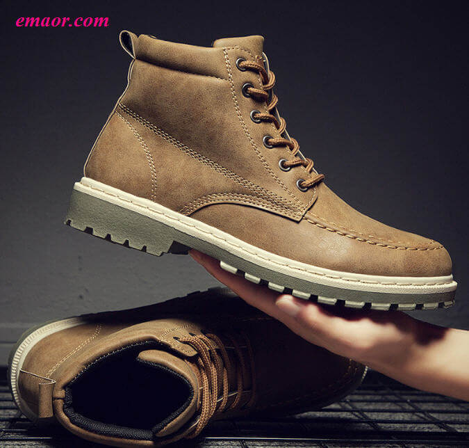 Boots Spring Autumn Male Martin Shoes Boots Ankle Round Toe Lace Up Casual Solid Martin Shoes
