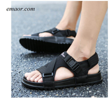 Sandals Men's Shoes Black Wedge Sandals Summer Beach Gladiator Fashion Outdoor Sandals Sanuk Strappy Sandals