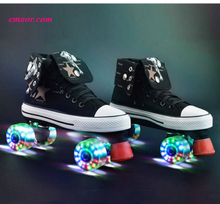 Roller Skates Canvas Shoes With Led Lighting PU Wheels Double Line Skates