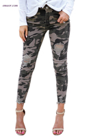 Women's High Waisted Jeans Distressed Camo Denim Pants