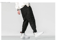 Men's Multi-pocket Elastic Waist Design Harem Pant Street Baggy Cargo Pants