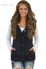 Women's Heated Types of Outerwear Heather Grey Cable Knit Hooded Sweater Vest