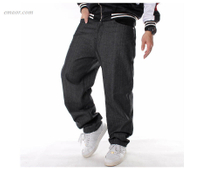 Best HIPHOP Denim Jeans Men's Embroidery Skull Straight Loose Casual Skate Pants Plus Size Jeans on Sale