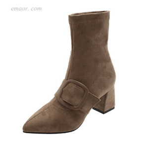 Women's Ankle Boots Michael Kors Boots Elegant Flock Mid Calf Boots for Women Pointed Toe Buckle Autumn Boots Booties for Women