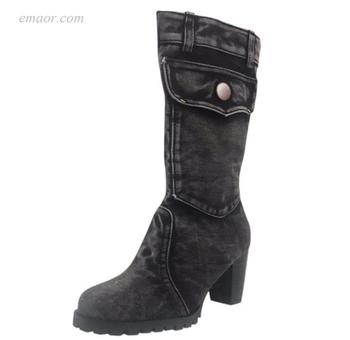 Women's Wearing High Heel Boots Med Heels Mid-calf Boots Chaussures Femmel Amazon Woman's Boots