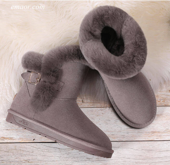 Best Stylish Winter Boots Women Shoes Cowhide Rabbit Hair Winter Snow Boots Winter Snow Boots Women Furry Winter Boots