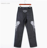 HIPHOP Jeans Men's Embroidery Skull Straight Loose Casual Skate Pants in Extra Size on Sale