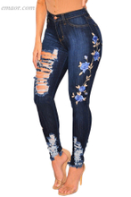 Best Ripped Jeans Embroidered Floral Destroyed Jeans on Sale