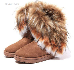 Women's Fashion Fur Boots Ladies Winter Warm Ankle Boots Sperry Duck Boots Womens Short Hunter Boots