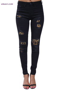 Destroyed Skinny Jeans Women's Stretch Jeans on Sale