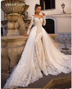 Dress for Wedding Off Shoulder Lace Long Sleeve Button Back Bridal Wedding Gowns For Bride Mermaid Wedding Dress