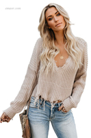 Hot Wholesale Tainted Love Cotton Distressed Sweater on Sale